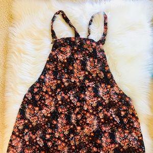 Floral Velvet Overall Dress